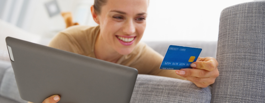 Image: a woman making an online payment
